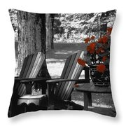 Garden Chairs With Red Flowers In A Pot Throw Pillow
