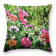 Garden Flowers Sketchbook Project Down My Street Throw Pillow