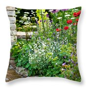 Garden Flowers With Stream Throw Pillow