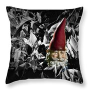 Garden Gnome With Gray Background Throw Pillow