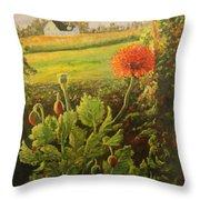 Garden Poppies Throw Pillow