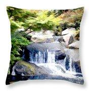 Garden Waterfall With Koi Pond Throw Pillow