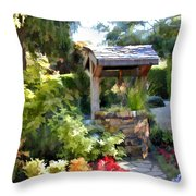 Garden Wishing Well Throw Pillow