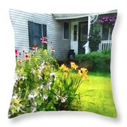 Garden With Coneflowers And Lilies Throw Pillow