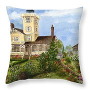 Gardens At Hereford Inlet Lighthouse  Throw Pillow