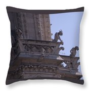 Gargoyles At Notre Dame Cathedral Throw Pillow