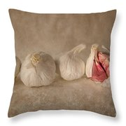 Garlic And Textures Throw Pillow