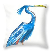 Garza Azul Throw Pillow