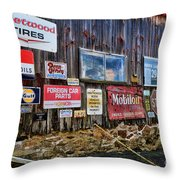 Gas Station Signs Throw Pillow