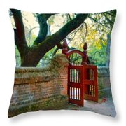 Gate In Brick Wall Throw Pillow
