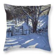 Gate Near Youlgreave Derbyshire Throw Pillow