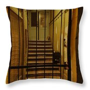 Gated Stairwell At Night Throw Pillow