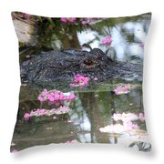 Gator Among Crape Myrtle Throw Pillow
