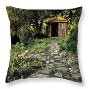 Gazebo And Path, Ballinlough Castle, Co Throw Pillow