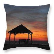 Gazebo At Sunset Seaside Park, Nj Throw Pillow