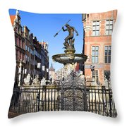 Gdansk Old City In Poland Throw Pillow