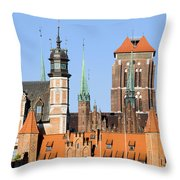 Gdansk Old Town In Poland Throw Pillow