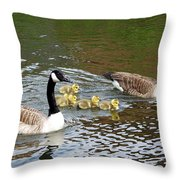 Geese And Goslings Throw Pillow