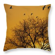 Geese At Sunrise Throw Pillow