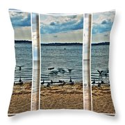 Geese Point Landing Triptych Throw Pillow