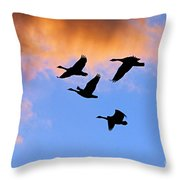 Geese Silhouetted At Sunset - 1 Throw Pillow