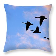 Geese Silhouetted At Sunset - 2 Throw Pillow