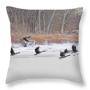 Geese Take Flight Over The Maumee River Throw Pillow