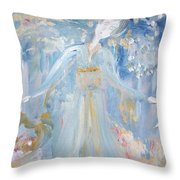 Geisha In The Rain Garden Throw Pillow