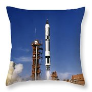 Gemini 12 Astronauts Lift Off Aboard Throw Pillow