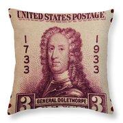 General James Oglethorpe Postage Stamp Throw Pillow