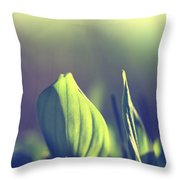 Green Leafes On Forest  Throw Pillow