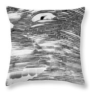 Gentle Giant In Negative Black And White Throw Pillow