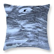 Gentle Giant In Negative Cyan Throw Pillow