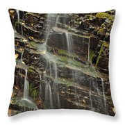 Gentle Waterfall In Glacier National Park Throw Pillow