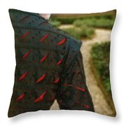 Gentleman In 16th Century Clothing On Garden Path Throw Pillow