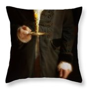 Gentleman In Vintage Clothing Holding A Candlestick Throw Pillow