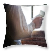 Gentleman In Vintage Clothing Reading A Letter Throw Pillow