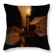 Gentleman In Vintage Clothing With Candlestick And Letters Throw Pillow