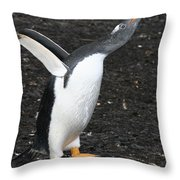 Gentoo Penguin With Something To Say Throw Pillow