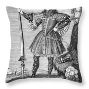 George Cumberland (1558-1605). George De Clifford Cumberland. 3rd Earl Of Cumberland. English Naval Commander And Courtier. Line Engraving, English, Early 19th Century Throw Pillow