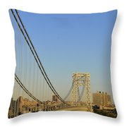 George Washington Bridge And Boat Throw Pillow