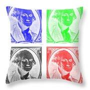 George Washington In Quad Negative Throw Pillow