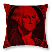 George Washington In Red Throw Pillow