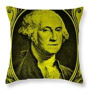 George Washington In Yellow Throw Pillow