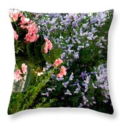 Geranium And Lilac Painting Throw Pillow