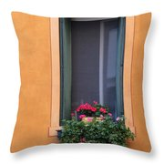 Geraniums In A Yellow Window In Treviso Italy Throw Pillow