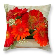 Gerbera Daisies Throw Pillow