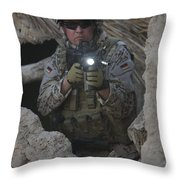 German Army Soldier Armed With A M4 Throw Pillow