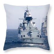 German Frigate Ffg Hessen And Uss Throw Pillow