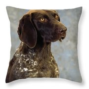 German Pointer Portrait Of A Dog Throw Pillow